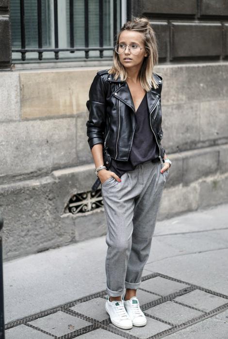 Куртка из натуральной или искусственной кожи.   Фото: Pinterest.