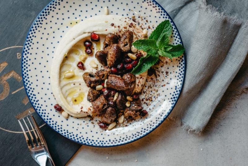 Изображение рецепта Хумус с куриными сердечками