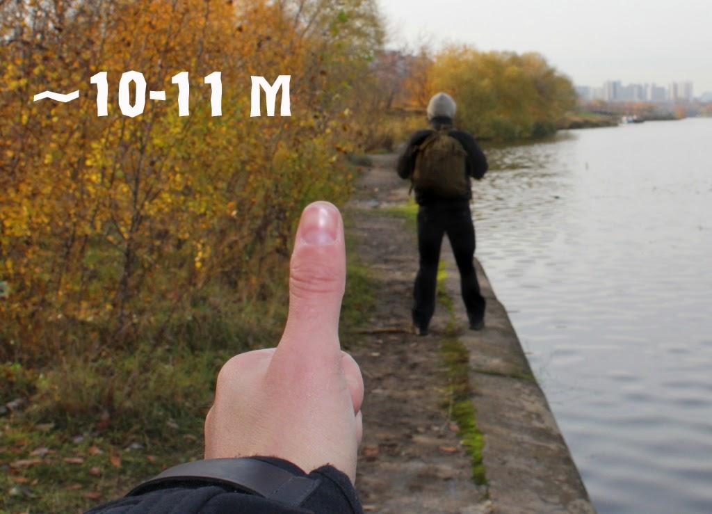 Определение расстояния по угловому размеру объекта