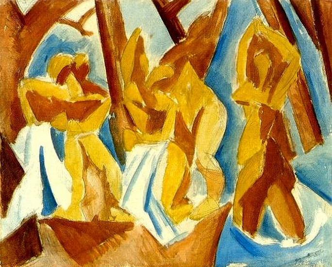 Пабло Пикассо. Пять женщин (Купальщицы в лесу). 1908 год