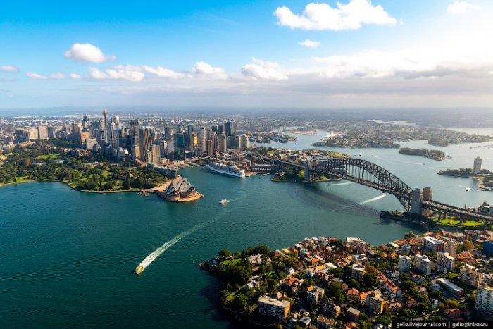 Город небоскребов Сидней, обзор с высоты
