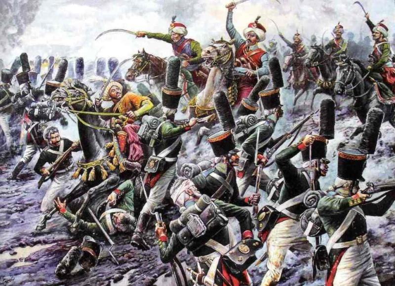 Семёновский лейб-гвардии полк отражают атаку мамелюков