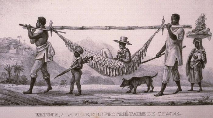 Рабы - носильщики транспортируют своего господина (Бразилия, 1831 год)