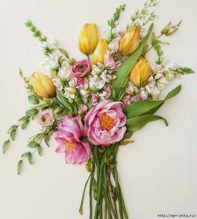 Вышиваем лентами тюльпаны — идеи для вдохновения