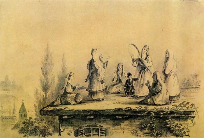 Грузинки на крыше сакли. Графитный карандаш. (1837год). Автор: М.Ю. Лермонтов.