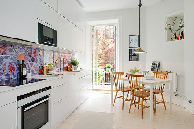Кухня в цветах: желтый, серый, белый, бежевый. Кухня в стиле скандинавский стиль.