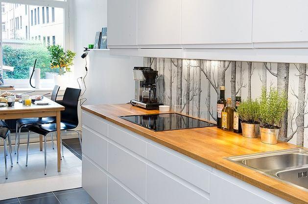 Кухня в цветах: желтый, серый, белый, бежевый. Кухня в стилях: эклектика.