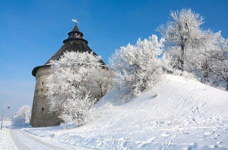 Псковский кремль зима, красота, природа, россия, фото