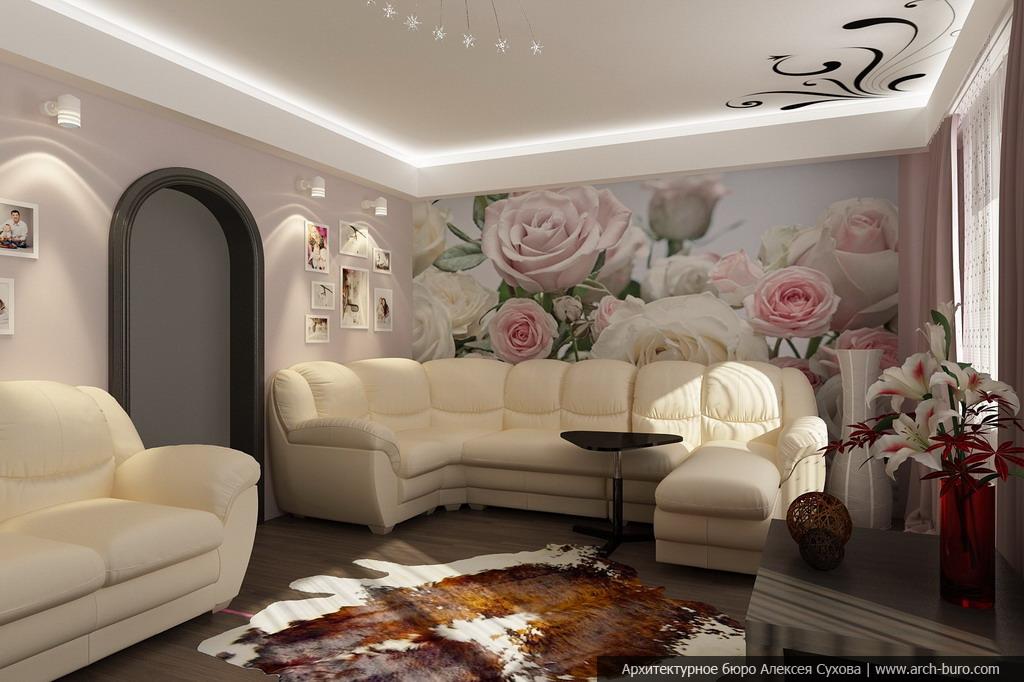Интерьер зала с фотообоями фото