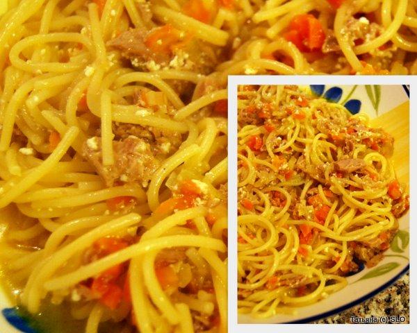 Спагетти с тунцом и помидорным рассолом))) Фото-рецепт.