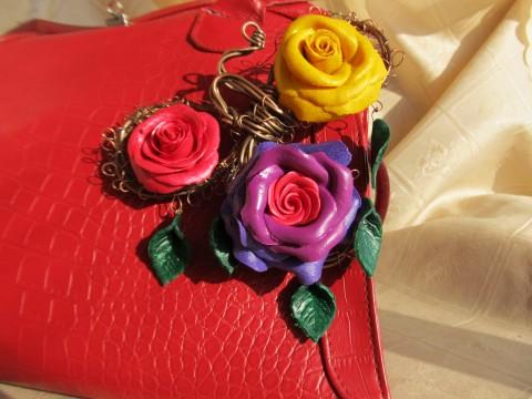 Розы Абракадабра. Брошь на красной сумке