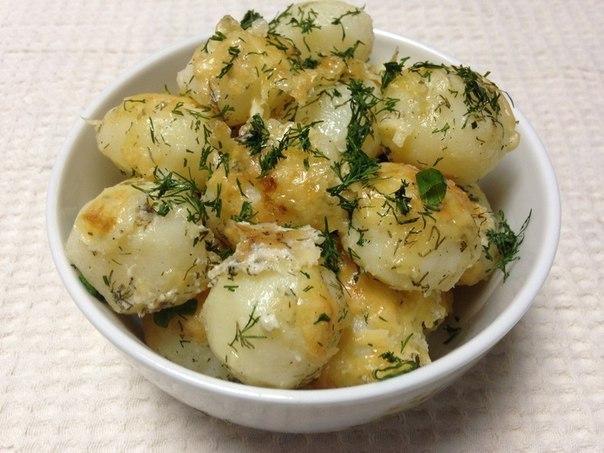Молодой картофель под сметанным соусом и сырной корочкой. Очень вкусно!
