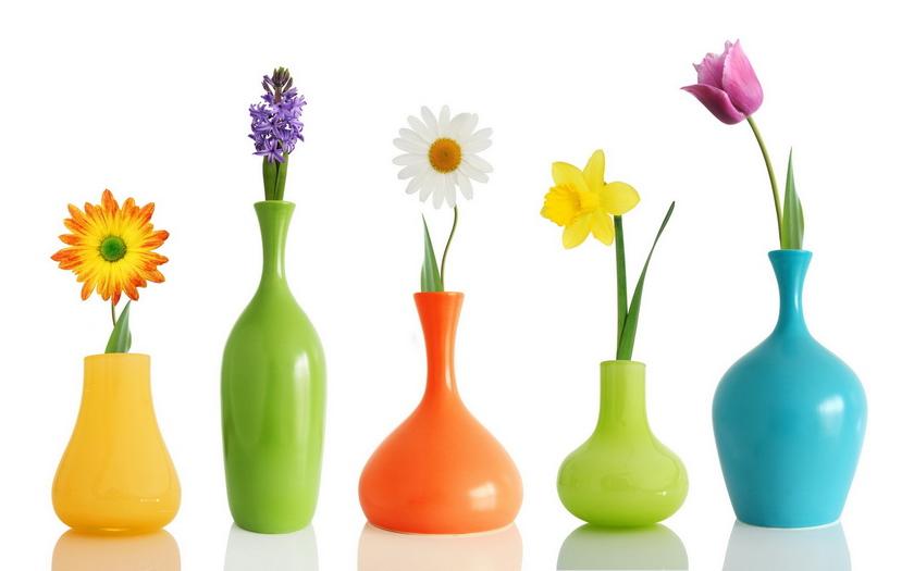разные вазы, тюльпаны