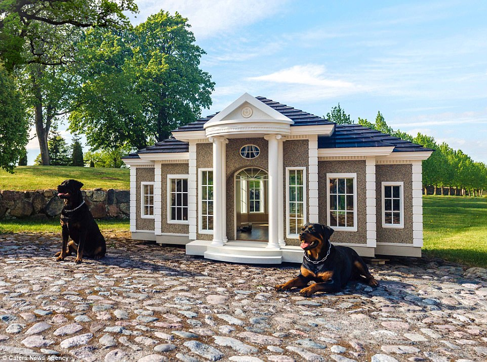 The dog houses boast features including heating, air conditioning, treat dispensers and even a conference calling system so the dog and its owner can communicate with each other