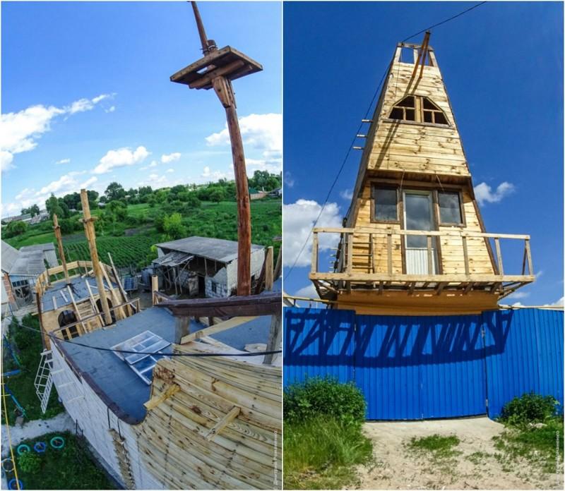 Житель села строит на дачном участке модель галеона