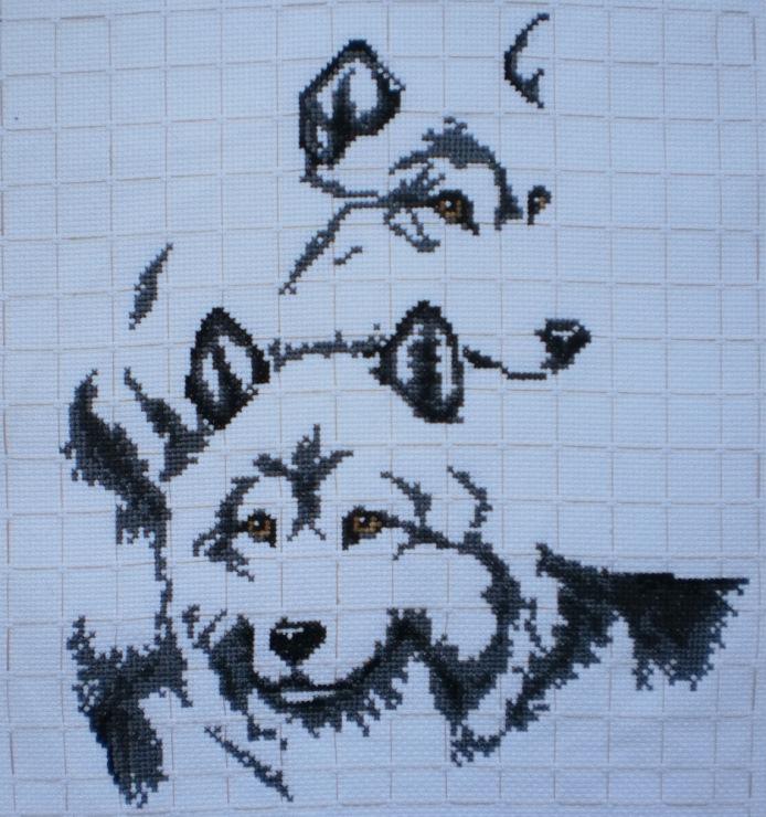 Схема вышивки крестом волки пара скачать
