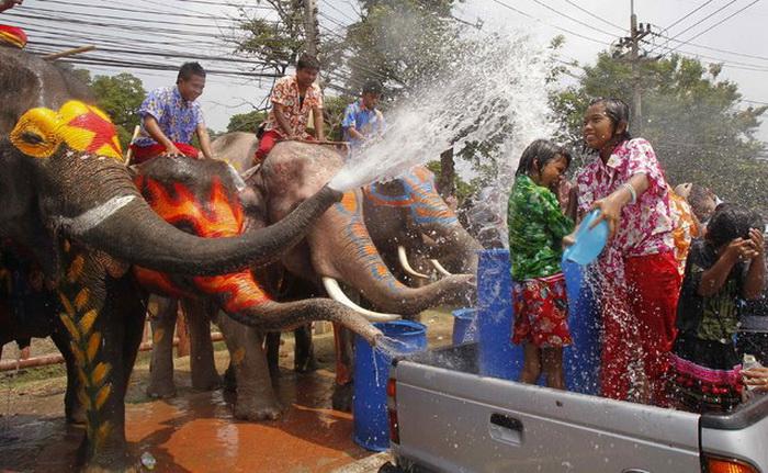 День Нептуна со слонами в главной роли в Таиланде