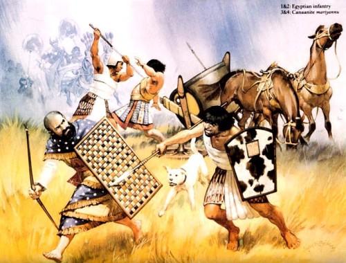 1,2 - египетские пехотинцы; 3,4 - ханаанские колесничие.