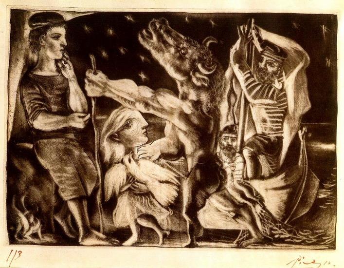 Пабло Пикассо. Слепой минотавр, ведомый девочкой. 1934 год