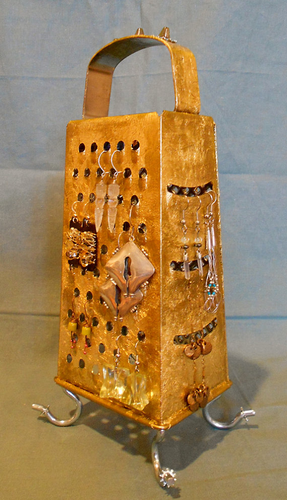 Earring stand ,Kitchen grater turns into an earring holder, gold leaf gilded, surrealistic style object,