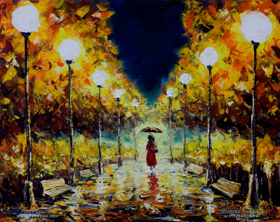 Night Oil Painting, night city landscape: Loneliness in the night