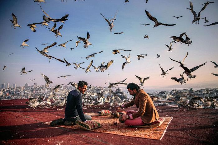 Харун Решит Гёкташ и Фахри Акдаг владельцы кафе «Куббе Стамбул» на террасе их рабочего места. Автор фотографии: Себнем Коскун.
