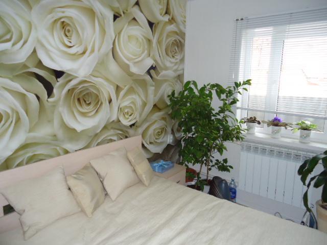 Интерьер из света и белых роз фото