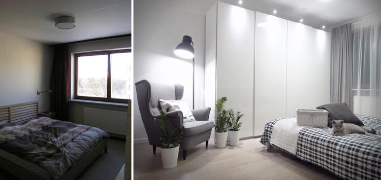 идея ремонта спальни белый серый цвета современный скандинавский стиль минимализм фото