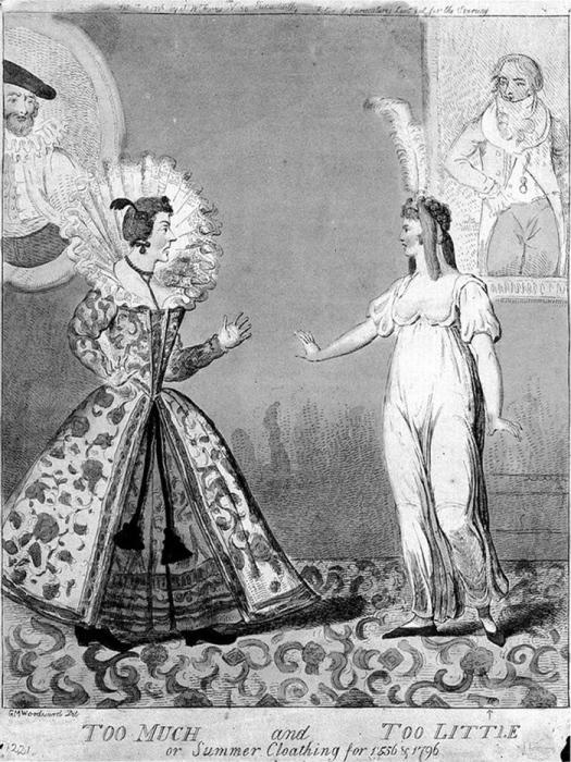 «Слишком много и слишком мало, или летняя одежда 1556 и 1796 годов». Гравюра английского карикатуриста Джорджа Крукшанка, созданная на основе рисунка Джорджа Маутарда Вудворда, 1796 год