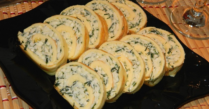 яичный рулет с сыром