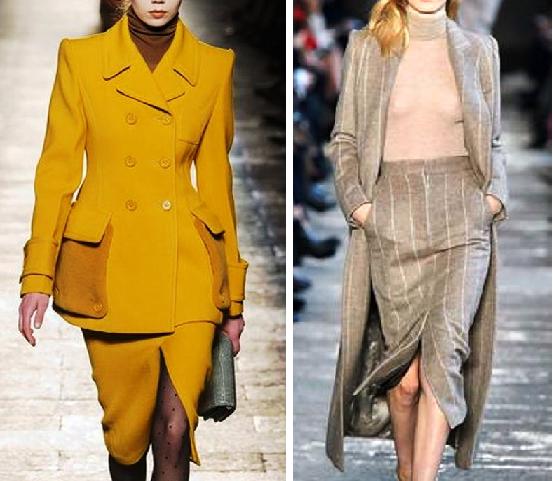 Модная осень 2017 — однотонные костюмы из шерсти и много женственности