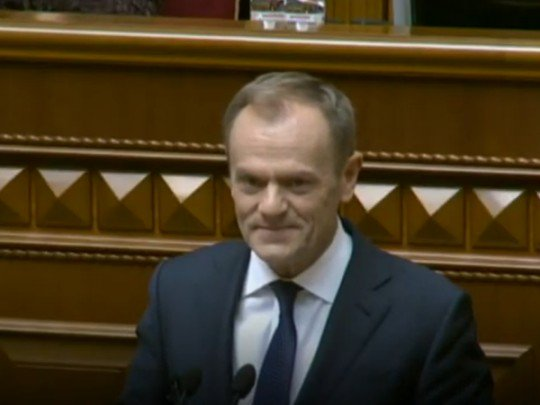 Поляк Туск выкрикнул в Раде лозунг украинских националистов