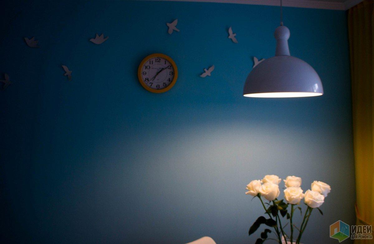 Кухня с небом, птицами и закатом