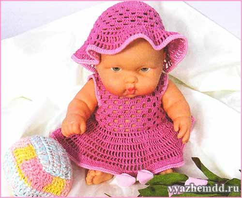 и платье для куклы крючком
