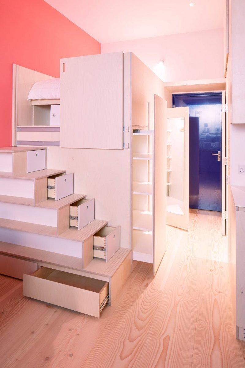 Внутри «микроквартиры будущего» площадью 19 кв. метров дизайн, жилое пространство, жилье, квартира, креатив, спальня