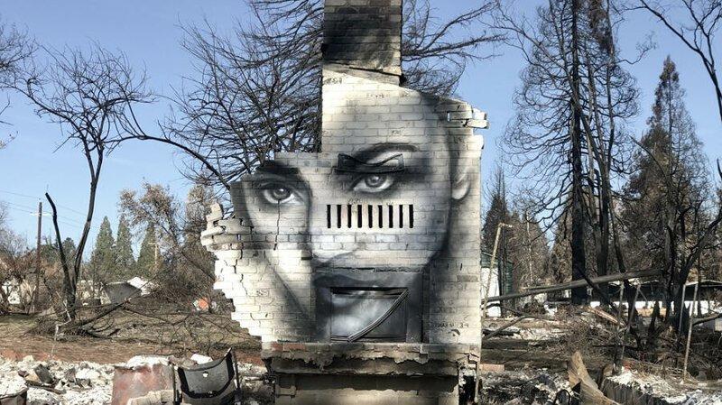 Художник рисует черно-белые портреты на сгоревших домах в Калифорнии                     (12 фото)
