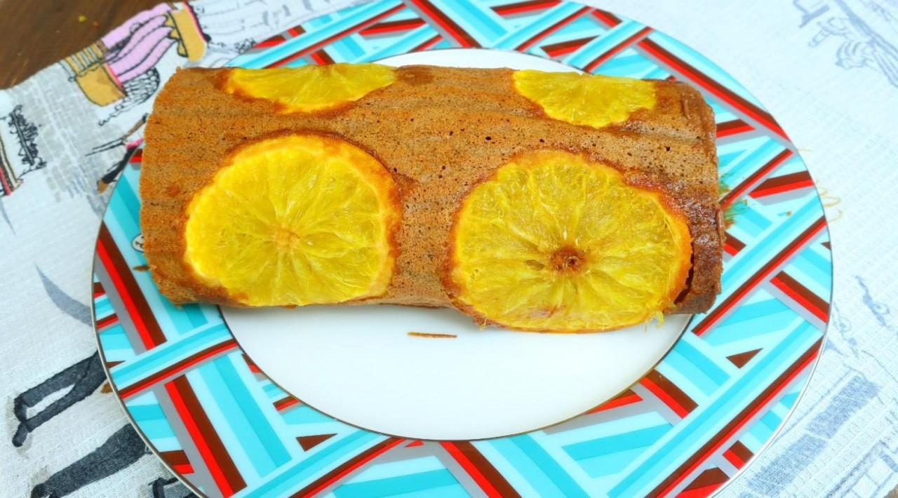 Апельсиновый рулет с шоколадной пастой - вкус Нового года)