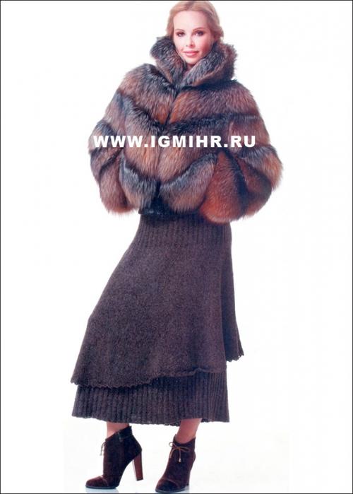 Теплая юбка, связанная по кругу сверху вниз