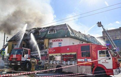Видео горящего торгового центра на Таганской площади