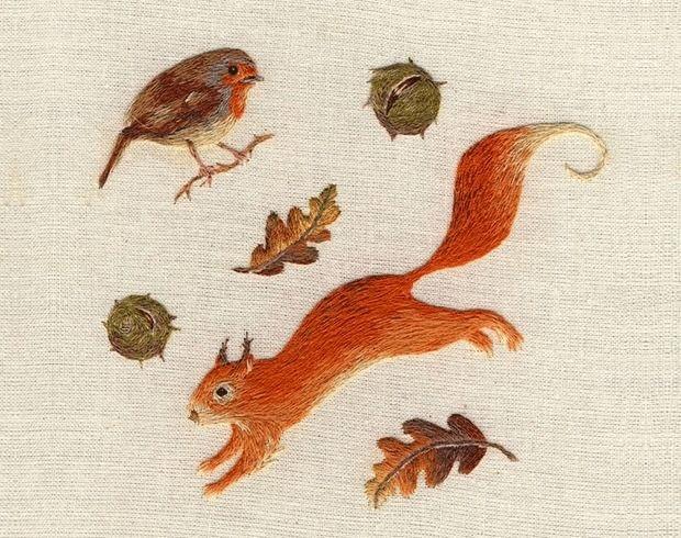 Миниатюрная вышивка животных и птиц от Chloe Giordano