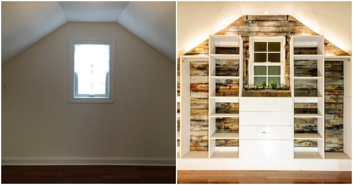 Умелица превратила комнату со скошенным потолком в стильную гардеробную