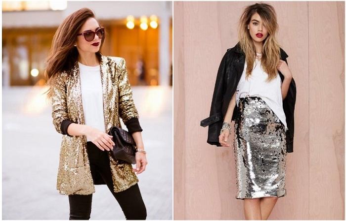 В гармоничном образе может быть только один элемент одежды с пайетками. / Фото: Zen.yandex.ru