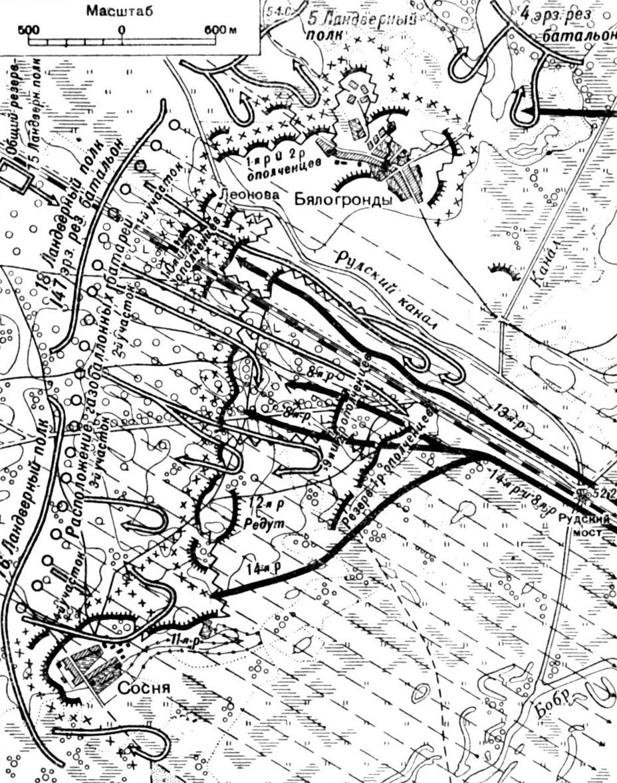 Ход боевых действий на Сосненских позициях 24 июля (6 августа) 1915 года Рисунок из книги С. А. Хмелькова «Борьба за Осовец».