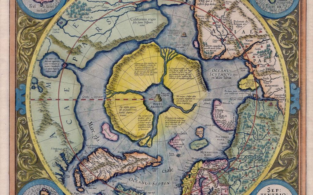 Карта Меркатора, где изображена полярная часть с Арктидой (Гипербореей).