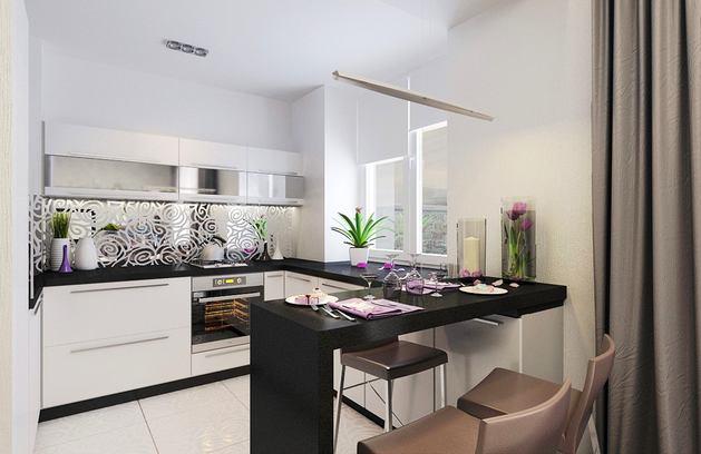 Кухня в цветах: черный, серый, светло-серый, белый. Кухня в стилях: эклектика.