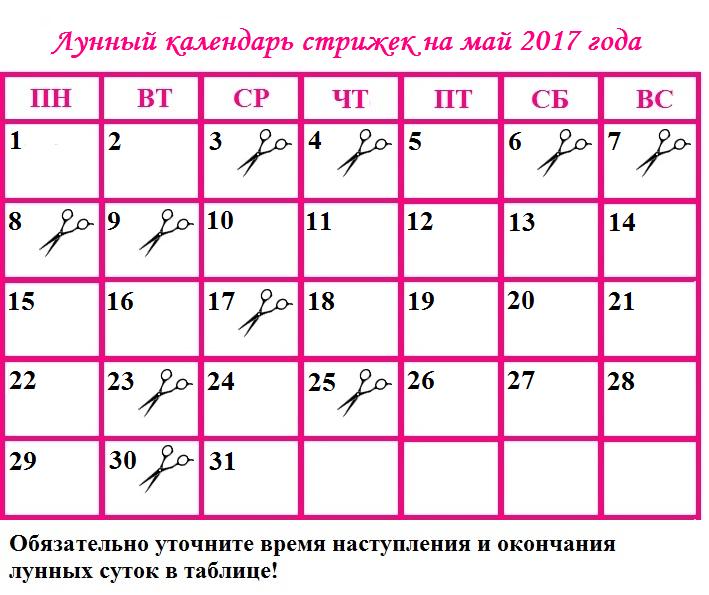 Календарь стрижки на 2017