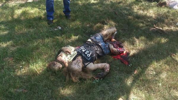 """Убитый ребёнок на руках мёртвой матери, разорванной снарядом на куски, и пытавшейся в последнем объятии спасти кроху - таков символ """"украинской самостийности""""."""
