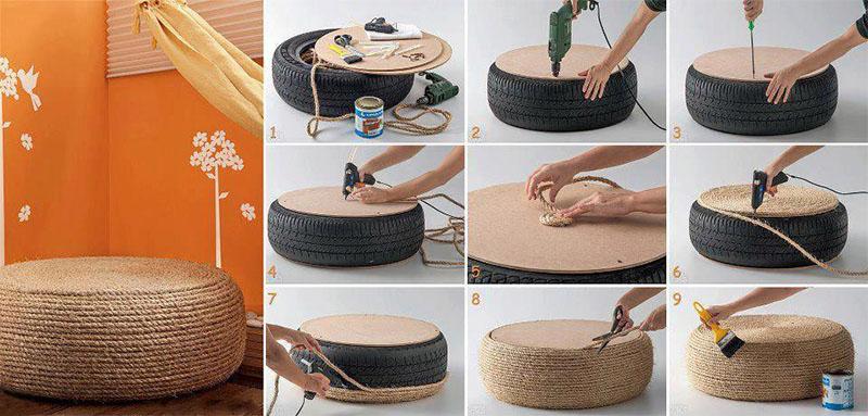 Столик из шины : рукоделие для интерьера