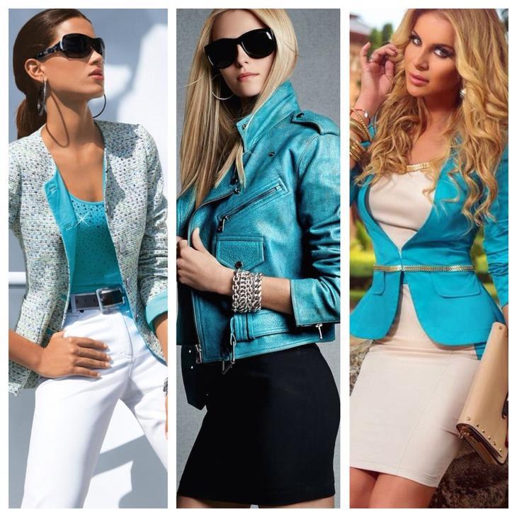 сочетание бирюзовой одежды