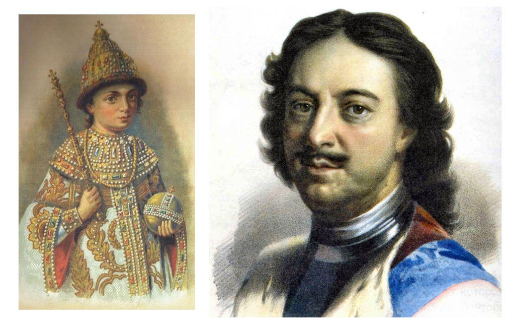 Пётр Первый в 10 лет (слева). Пётр Первый уже после поездки в Европу (справа).